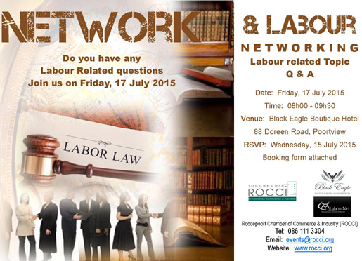 ROCCI Labour Talk & Networking @ Black Eagle Boutique Hotel | Roodepoort | Gauteng | South Africa