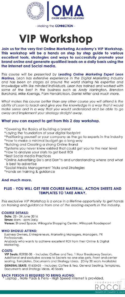 ROCCI Online Marketing Academy: VIP Workshop @ Shared Space | Roodepoort | Gauteng | South Africa